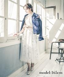 □【GWフェア/10%OFF対象】フラワープリーツチュールスカート