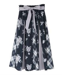 パッチワークミディスカート(紺-M)