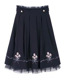 ブーケ刺繍タックスカート(紺-M)