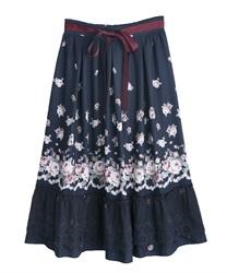 パネル花柄フレアスカート(紺-M)