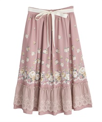 パネル花柄フレアスカート(ピンク-M)