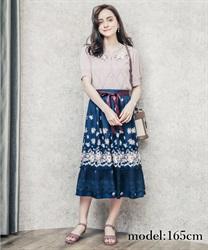 【web価格/24H限定】パネル花柄フレアスカート