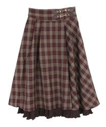 【追加予約】裾プリーツチェック柄スカート(ワイン-M)