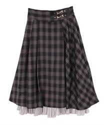 【追加予約】裾プリーツチェック柄スカート(パープル-M)