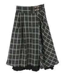 【追加予約】裾プリーツチェック柄スカート(グリーン-M)
