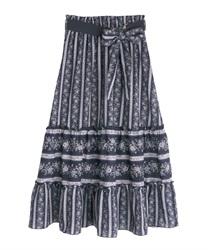 ストライプフラワー柄スカート(紺-M)