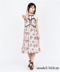 【OUTLET】ばら柄ノースリワンピース(淡ピンク-M)
