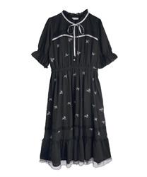 ローズ刺繍ワンピース(黒-M)