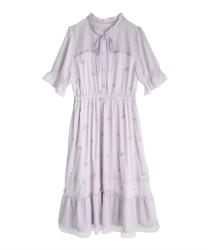 ローズ刺繍ワンピース(ラベンダー-M)