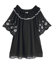 刺繍袖楊柳シフォンチュニック(黒-M)