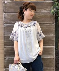 刺繍袖楊柳シフォンチュニック