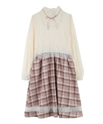【OUTLET】【Web限定】レース×チェックワンピース(淡ピンク-M)