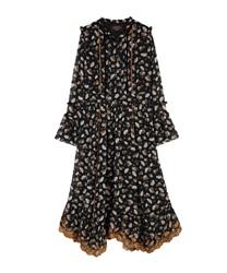 【OUTLET】裾刺繍スタンドカラーワンピース