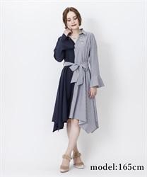 【OUTLET】【GWフェア/2点10%OFF対象】【GWフェア/Web価格】薔薇刺繍バイカラー長袖ワンピース(紺-M)