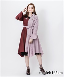 【OUTLET】【Web価格】薔薇刺繍バイカラー長袖ワンピース