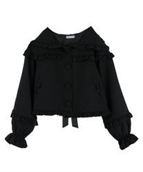 【OUTLET】フリルフード付きジャケット(黒-M)