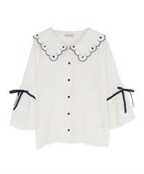 トランプ刺繍スカラップ襟ブラウス(生成り-M)