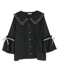 トランプ刺繍スカラップ襟ブラウス(黒-M)