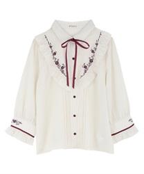 バラ刺繍ヨーク切替七分袖ブラウス(ベージュ-M)