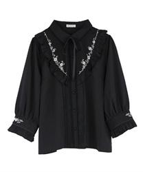 バラ刺繍ヨーク切替七分袖ブラウス(黒-M)
