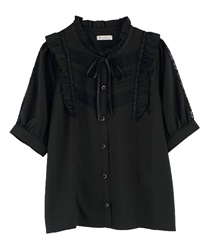 【OUTLET】【Web限定】肩フリルブラウス(黒-M)