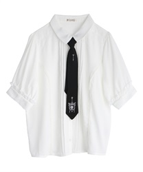 刺繍ネクタイ付ブラウス(白-M)
