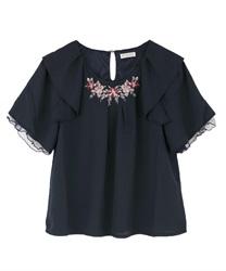 【web価格/15H限定】フラワー刺繍フリル袖ブラウス(紺-M)
