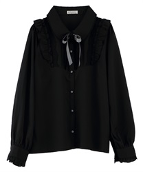 【OUTLET】【Web限定】花リボンブローチ付ブラウス(黒-M)