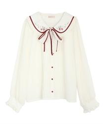 リボン付ストロベリー刺繍ブラウス(生成り-M)