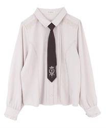 【10%OFF対象】刺繍ネクタイ付ブラウス(ベージュ-M)