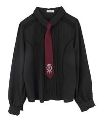 【10%OFF対象】刺繍ネクタイ付ブラウス(黒-M)