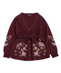 【予約】バラ刺繍ロングカーデ
