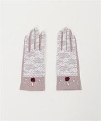 【web価格/15H限定】巻きバラレースUV手袋(淡ピンク-M)