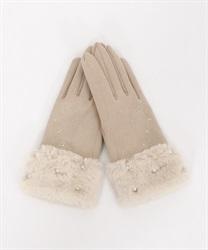 雪柄刺繍手袋