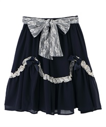 【OUTLET】【Web限定】ティアードシフォンスカート(紺-M)