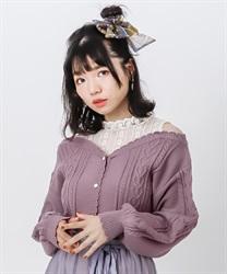 【OUTLET】肩開きレイヤードニットプルオーバー(濃ピンク-M)
