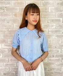 【web価格/24H限定】ビッグ襟半袖ニットカーディガン