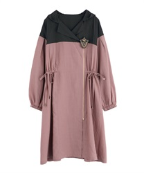 【OUTLET】【Web価格】エンブレムロングブルゾン(濃ピンク-M)