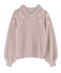 【OUTLET】【2点10%OFF対象】【Web限定】花モチーフフェザーニット(淡ピンク-M)