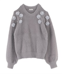 【OUTLET】【Web限定】花モチーフフェザーニット(グレー-M)