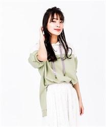 【OUTLET】バイカラーパーカープルオーバー(グリーン-M)