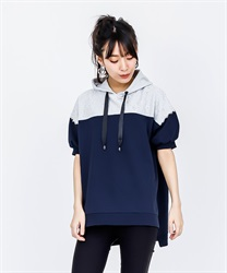 【OUTLET】バイカラーパーカープルオーバー(紺-M)