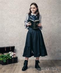 花刺繍入り切替フレアスカート(紺-M)