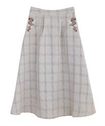 【均一価格/WEB限定】花刺繍チェック柄スカート(茶-M)