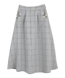 【均一価格/WEB限定】花刺繍チェック柄スカート(黒-M)