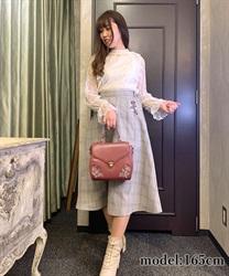 【均一価格/WEB限定】花刺繍チェック柄スカート