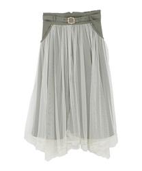 【均一価格/WEB限定】ベルト付チュール重ねスカート(カーキ-M)