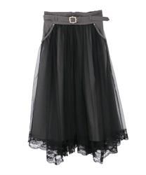 【均一価格/WEB限定】ベルト付チュール重ねスカート(杢グレー-M)