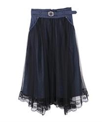 【均一価格/WEB限定】ベルト付チュール重ねスカート(インディゴ-M)