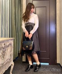 □【GWフェア/10%OFF対象】ベルト付チュール重ねスカート